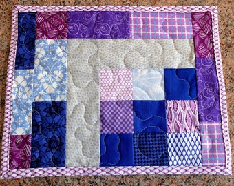 Patchwork quilted mug rug, modern placemat, candle mat, purple blue and grey patchwork topper