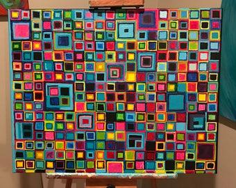 "28"" x 22"" BRIGHT multi-colored squares acrylic painting, ORIGINAL acrylic painting"