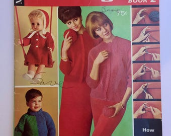 Vintage McCall's Knitting Book 2, Knitting Step by Step Instructions for Beginners, Quiltsy Destash Party