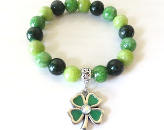 Shamrock 4 Leaf Clover Irish Saint Patricks Day Green Quartzite Charm Bracelet