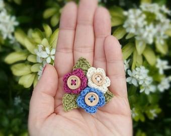 Flower Pin - Flower Brooch - Teacher Gift - 100% cotton flowers - Brosche - Cotton Flower Pin - Brooch - Crochet Brooch - Fleur Broche