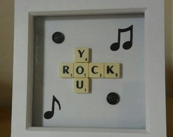 """You Rock Letter Tile Art with Musical Notes and Buttons in White 7x7"""" Frame"""
