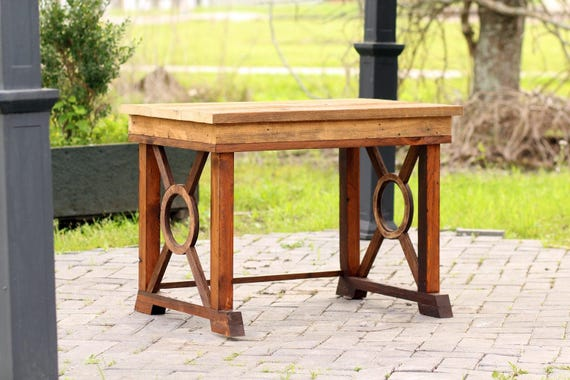 Small 36 Reclaimed Wood Craftsman Style Side Table Hand