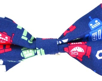 Robots Dark Blue Bow Tie