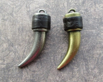 Large Solid Tusk Pendant, Matte Antique Gold or Silver, Leather Trim, Mens Jewellery, Horn Fang Talon Claw 51mm
