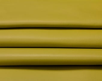 Green genuine leather fabric, light green natural sheep leather material, natural lamb skin, leather fabric, per piece, Split Pea,362, 0,8mm