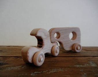 Handmade Wood Toy Truck with Detachable Camping Trailer-Handmade Wood-Eco Friendly-Heirloom Toys-Waldorf Inspired