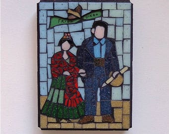 Frida and Diego Mosaic Wall Art, Glass Mosaic, Original Artwork, Wall Hanging, Couple Portrait, Folk Art, Mexican Art (5x7 inches)