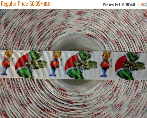 "HOT DEAL How The GRINCH Stole Christmas 7/8"" 22mmGrosgrain Hair Bow Craft Ribbon 782979"
