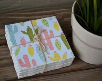Set of 4 tile coasters - Cactus pink, blue, yellow, green, olive southwest - wedding, gift, holiday, housewarming, birthday