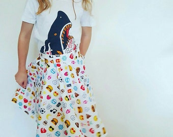 Emoji circle skirt for a girl, made to order girls clothes, made to measure, handmade in Australia, girls clothes