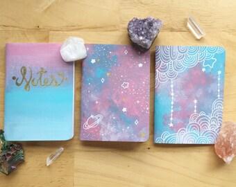 Pastel Hand Painted Pocket Journal Set of 3 ( Notebook, Sketchbook, Mini, planner, lists, gift, cute)