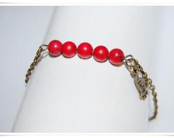 Bracelet brass turquoise lucky feet minimum bronze jewelry bracelet articulated bronze turquoise red bracelet minimalistik