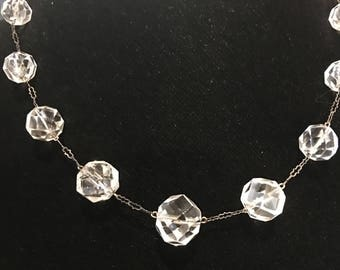 Czech faceted crystal and sterling silver choker vintage