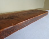 Reclaimed Barn Wood Floating Shelf- 30x7x2 crafted from 100 year old lumber- Free Shipping- Any wall type installation
