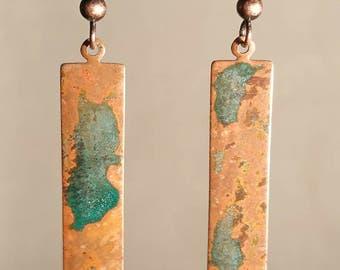 Long Copper Patina Earrings - Copper Earrings - Patina Jewelry