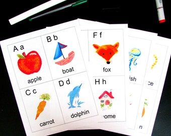 Printable hand painted alphabet flashcards, hand made instant download flashcards, alphabet flashcards, ABCs hand painted printable