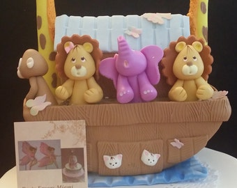 Noah's Ark Cake Topper, Noah's Ark Figurine, Noahs Ark Baby Shower, Noahs Ark Cake Figurine, Noahs Ark Birthday, Ark and Animals Decorations