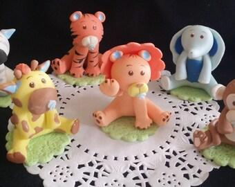 Safari Animals, Safari Cake Topper, Baby Animals Toppers, Jungle Animal Cake Topper, Jungle Baby Shower, Safari Birthday, Safari Party Decor