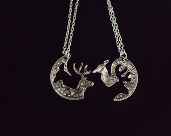 Deer double necklace- interlocking- very cute- 2pc