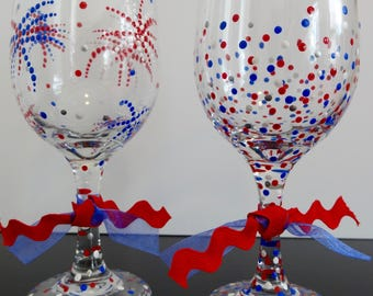 4th of July Wine Glasses (Set of 2)