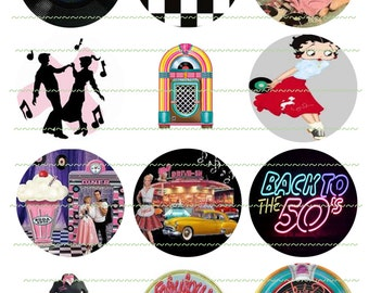 50s Banner Circles Cupcake Toppers Printable Images Rock N Roll Back To The 50s digital Circles Jute Box Diner Printable Collage