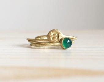 Set di anelli sottilissimi in oro verde smerigliato 18k - RINGS KIT