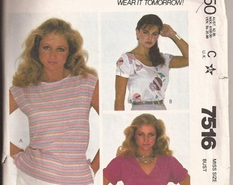 McCalls 7516 Misses top in Three Styles, Size 10, bust 32 1/2. Vintage 1981