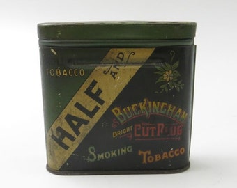 Vintage Half and Half Lucky Strike Buckingham Bright Cut Tobacco Collapsible Pocket Tin