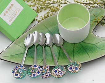 Pair of teaspoons with lovely design in Klimt style Polymer Clay Art A very unusual present for Valentines day design cutlery