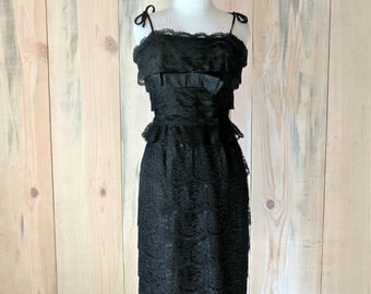 1950s black lace dress | 50s tiered lace wiggle dress | Ferman O'Grady size xsmall