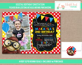 Curious George Birthday Invitation, Curious George Birthday Invite, Curious George Birthday Party, 1st Birthday Party, Photo Invite  (#756)