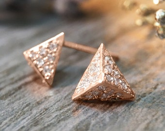 7x8MM Diamond Cluster Pyramid Stud | Pave setting | Solid 14K Gold | Geometric Earrings | Fine Jewelry | Free Shipping