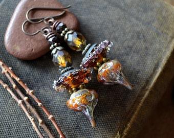 Artisan Lampwork Earrings, Organic Glass Earrings, Rustic Boho Earrings, Amber brown, Earthy Drop Earrings, Indie Earrings, Stack Earrings