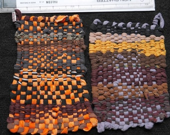 Pair of Handmade, recycled cotton Potholders in oranges, yellows and browns