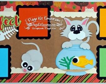 Scrapbook Page Kit Pet Cat Purr Fect Pet Fish Boy Girl 2 page Scrapbook Layout 95