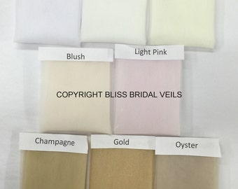 Samples of Veil Colors from Bliss Wedding Veils