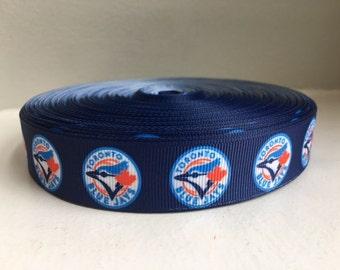 "1/3/5/7/10 Yards Toronto Blue Jays 7/8"" Grosgrain Ribbon"