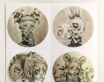 Set of 4 round stickers