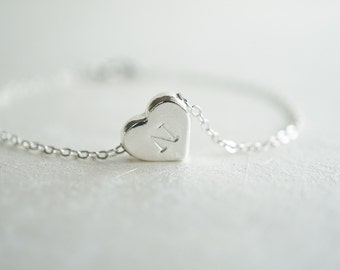 Silver Initial Bracelet, Heart Bracelet, BFF Bracelet, Mothers Day, Sister Gift, Flower Girl, Bridesmaids, Bridal Party, Maid of Honor