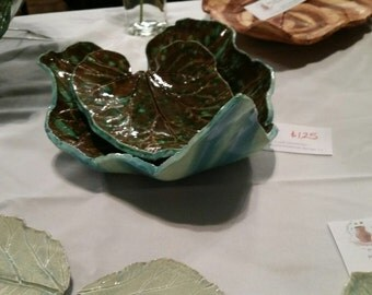 Large leaf impression platters/bowls