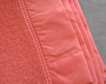 Coral Pink, Vintage, Felted Wool Blanket - Satin Trim