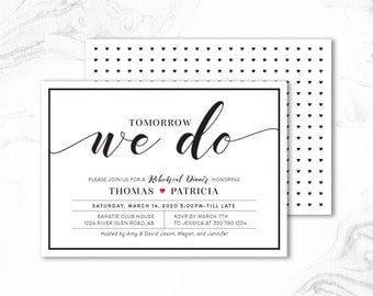 Rehearsal Dinner Invitation, Printable Rustic Wedding Rehearsal Dinner Invites _ RD01_H Black & White