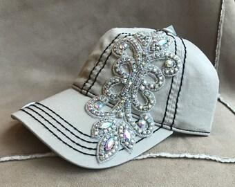 Rhinestone Bling light Khakie charm hat