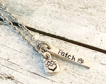 Pet loss - Hand stamped necklace - Pet memorial jewelry - dog or cat loss - Unique jewelry - Personal hand stamped necklace - Pet gift