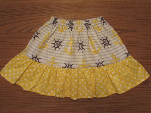 Sale size 6T Nautical skirt/girls skirt/toddler skirt/anchor skirt/yellow and gray skirt/cotton skirt/ruffle skirt/girls skirt