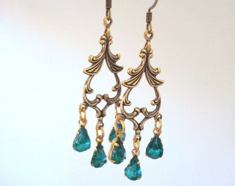 Emerald Chandelier Earrings, Antiqued Filigree Earrings, Bohemian Earrings, Victorian Revival, Everyday Earrings