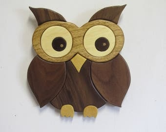 Intarsia wide eyed owl
