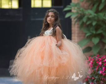Peach Flower Girl Dress, Peach Tutu Dress, Peach Tulle Dress, Peach Dress, Peach Wedding, Peach