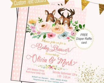 Baby Shower Invitation Its a girl Baby Shower Invitation Floral Deer Baby Shower invitation Watercolor flowers Woodland Baby shower invite